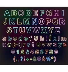 Neon glow alphabet set for your design vector image