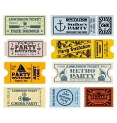 Retro party cinema invitation tickets set vector image vector image
