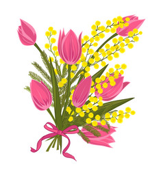 spring floral background with beautiful bouquet of vector image vector image