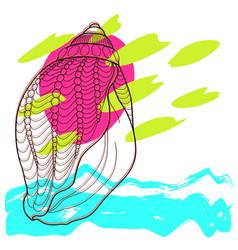 stylized sea seashell abstract modern art vector image