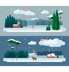 Winter landscape backgrounds set in flat style vector image