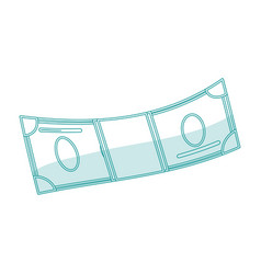 blue silhouette shading cartoon bill currency vector image vector image