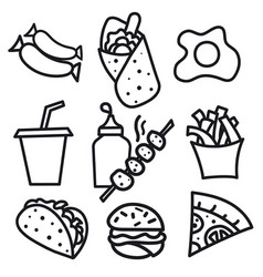 food icons and signs vector image vector image