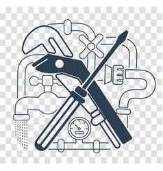 icon plumbing black vector image