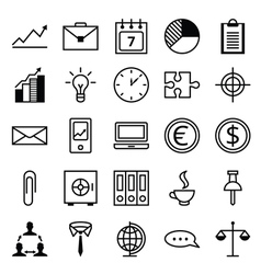 Icon set a business and office vector image vector image