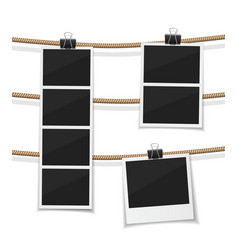 Set of photobooth and photos hanged on vector
