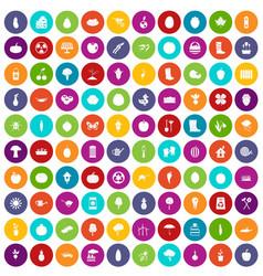 100 garden icons set color vector