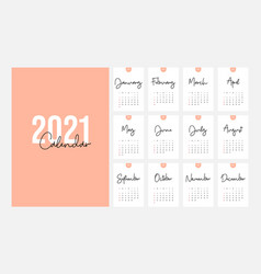 2021 calendar design template week starts vector