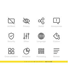 ad block icon shield privacy secure analitic vector image