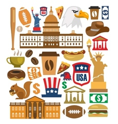 America icons set vector