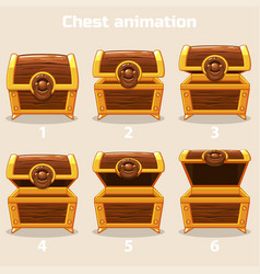 Animation step by step open and closed wooden vector
