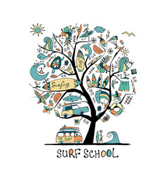 art tree with surfing design elements surf school vector image
