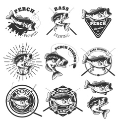 Bass fishing labels perch fish emblems templates vector