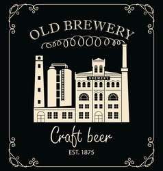 Beer banner with brewery building in retro style vector
