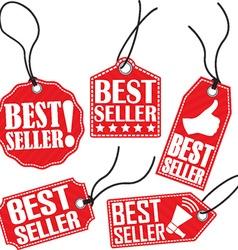 Best seller red tag set vector image