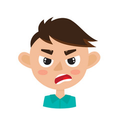 Boy angry face expression cartoon vector