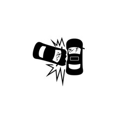 car crash accident flat icon vector image
