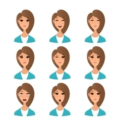 Cartoon girl emotion faces vector image