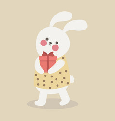 cartoon trendy style cute bunny mascot with red vector image