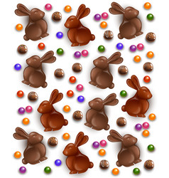 chocolate bunny and eggs pattern background vector image