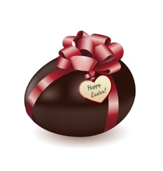 Chocolate egg with greeting card vector