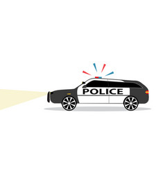 colored police car with siren flat design vector image