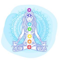 Concept mandala woman chakras vector