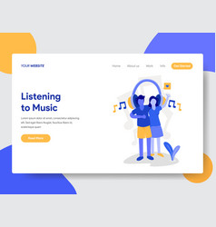 couple listening to music vector image