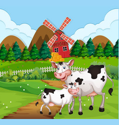 Cow in farmland scene vector