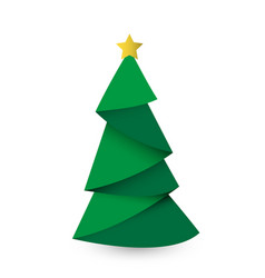 creative christmas tree card origami vector image