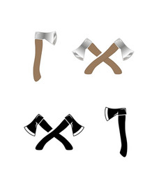 Crossed ax wood chopping tool realistic style vector