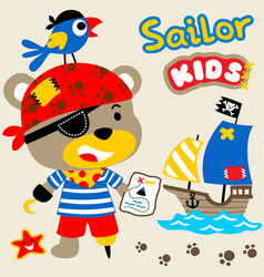 Cute bear with its crew looking for treasure with vector