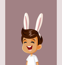 Cute happy boy with bunny ears celebrating easter vector