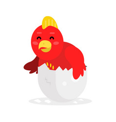 cute newborn red bird character funny nesting in vector image