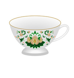 decorative porcelain tea cup ornate in vector image