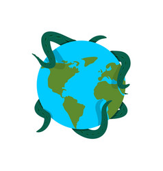 Earth in tentacles monster cthulhu conquest of vector