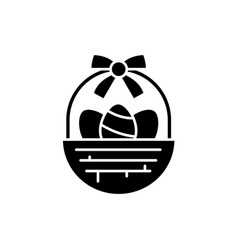 easter basket black icon sign on isolated vector image