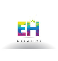 Eh e h colorful letter origami triangles design vector