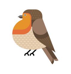 European robin birds geometric icon in flat vector