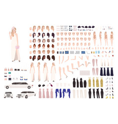 Fashionable celebrity woman animation set or diy vector
