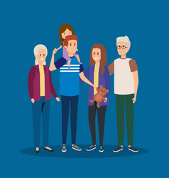 Father and mothers with kids and grandparents vector
