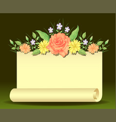 floral frame template decoration with paper vector image