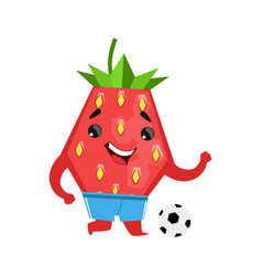 football player strawberry with a ball cute vector image
