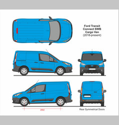 Ford transit connect swb cargo 5 doors van 2018 vector