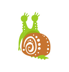 funny snail character back view cute green vector image