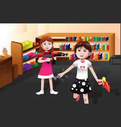 Girls playing with boys toys vector