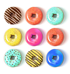 Glazed colored donuts set 3d vector