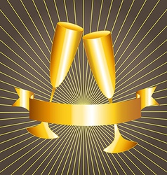 Gold cups and ribbon banner vector