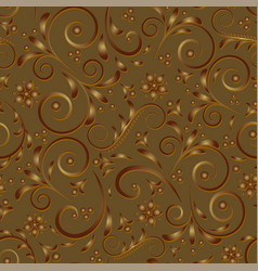 golden spirals curls and flowers on a brown vector image