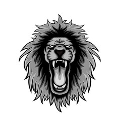 Gray color or lion roars lion mascot logo vector